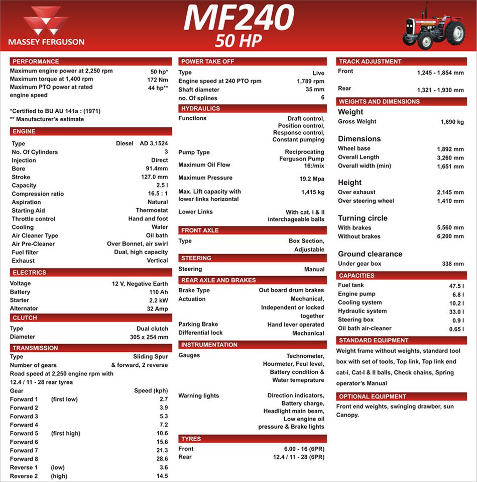 Massey Ferguson Tractor Specifications : Massey ferguson mf tractor specifications