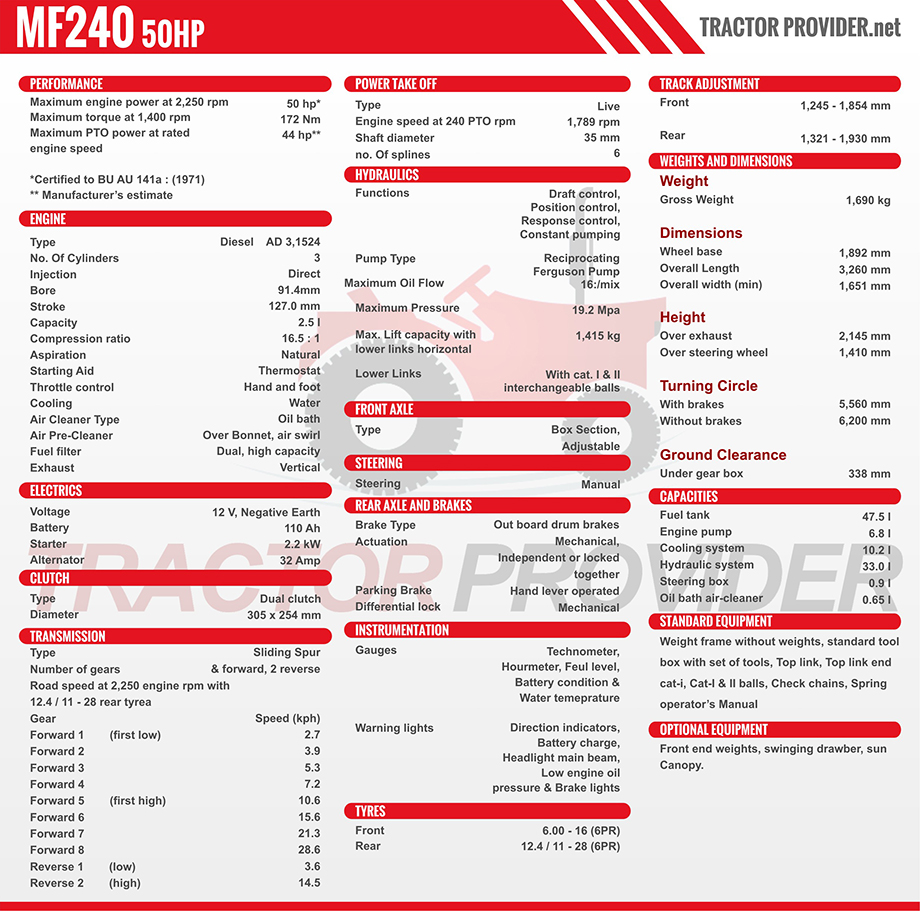 MF 240 Tractor Specification